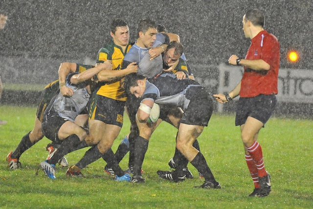 RAF in full wet weather routine against Henley Hawks - Image courtesy and copyright of John Walton